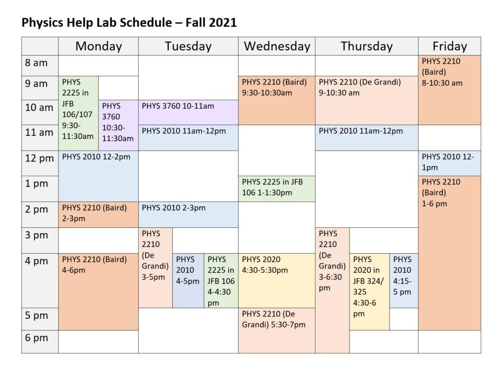 Physics help lab schedule